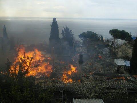 Появилось видео крупного пожара в Алупке