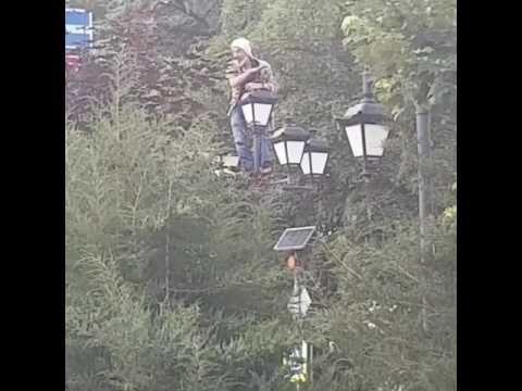 В Симферополе мужчина устроил шоу на фонарном столбе