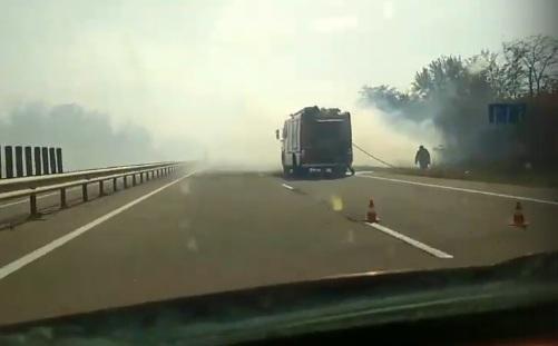 На выезде из Симферополя из-за сильного дыма разбились машины