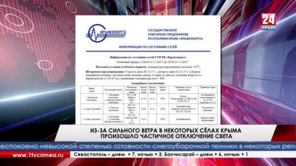 Из-за сильного ветра в некоторых сёлах Крыма произошло частичное отключение света