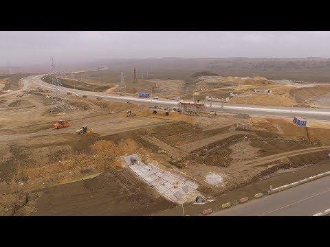 Стройку автоподходов к мосту в Крым сняли с воздуха