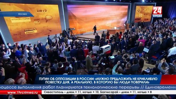 Путин об оппозиции в России: «Нужно предложить не крикливую повестку дня, а реальную, в которую бы люди поверили»