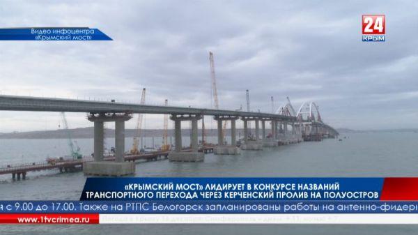 «Крымский мост» лидирует в конкурсе названий транспортного перехода через Керченский пролив на полуостров