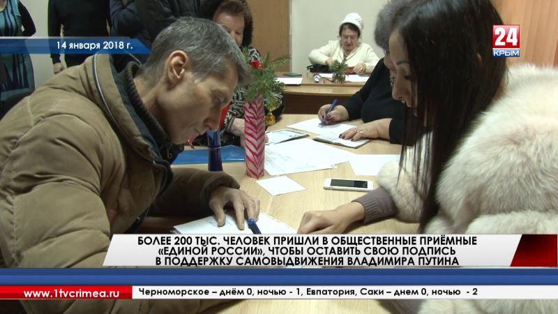Более 200 тысяч человек по всей стране пришли в общественные приёмные «Единой России», чтобы оставить свою подпись в поддержку самовыдвижения В. Путина