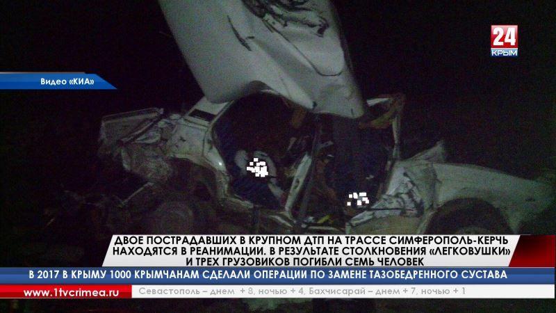 Двое пострадавших в крупном ДТП на трассе Симферополь-Керчь находятся в реанимации. В результате столкновения «легковушки» и трех грузовиков погибли семь человек