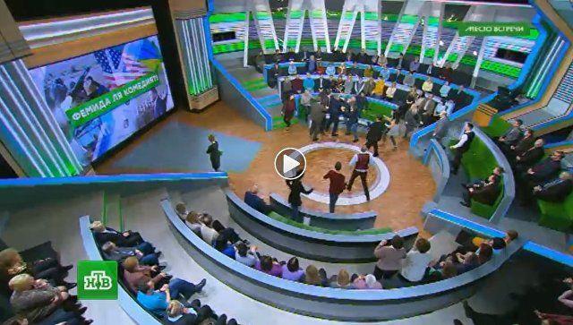 Не выдержал: ведущий НТВ подрался с украинским экспертом в прямом эфире