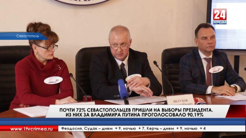 Почти 72% севастопольцев пришли на выборы Президента России. Из них за Владимира Путина проголосовало 90,19%