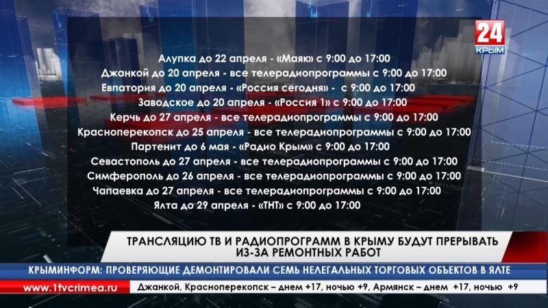 Трансляцию ТВ и радиопрограмм в Крыму будут прерывать из-за ремонтных работ