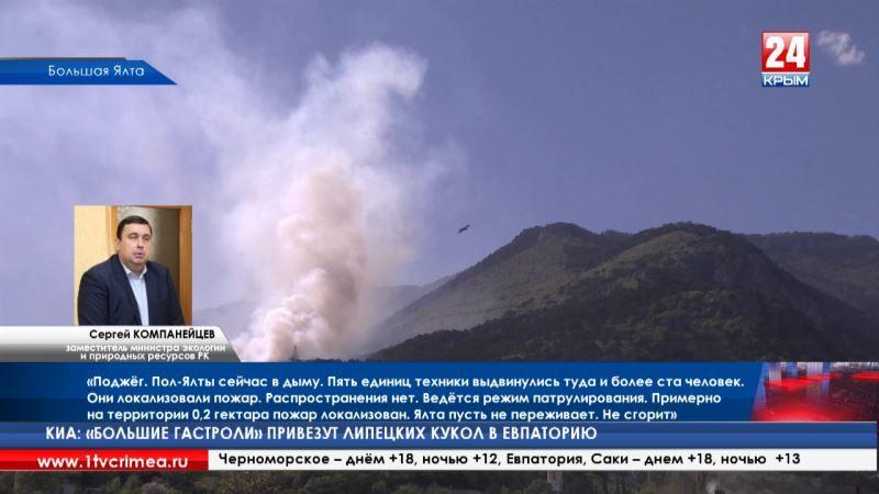 Ялту накрыло дымом. В ущелье горно-лесного заповедника совершён поджог
