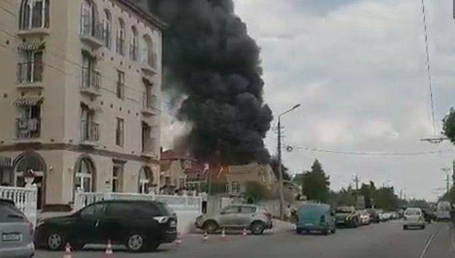 Видео с места пожара в евпаторийском пансионате