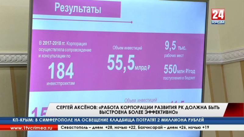 Сергей Аксёнов: «Работа корпорации развития РК должна быть выстроена более эффективно»