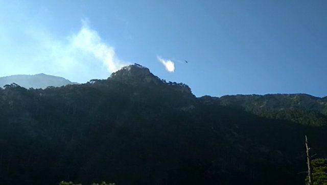Вертолет, вода и дым: видео тушения нового пожара в горах близ Ялты