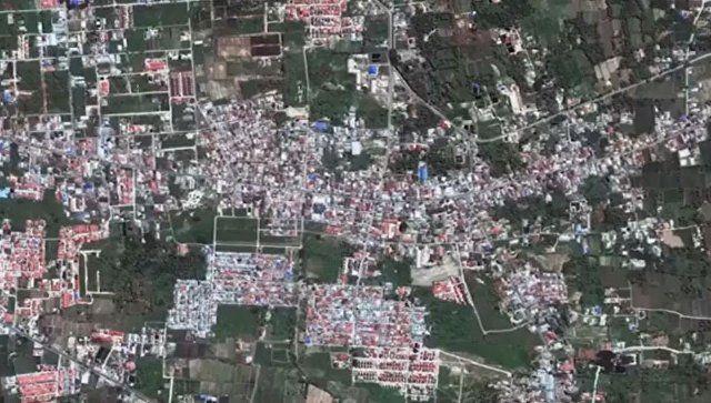 Видео: спутник снял момент разрушения части города в Индонезии