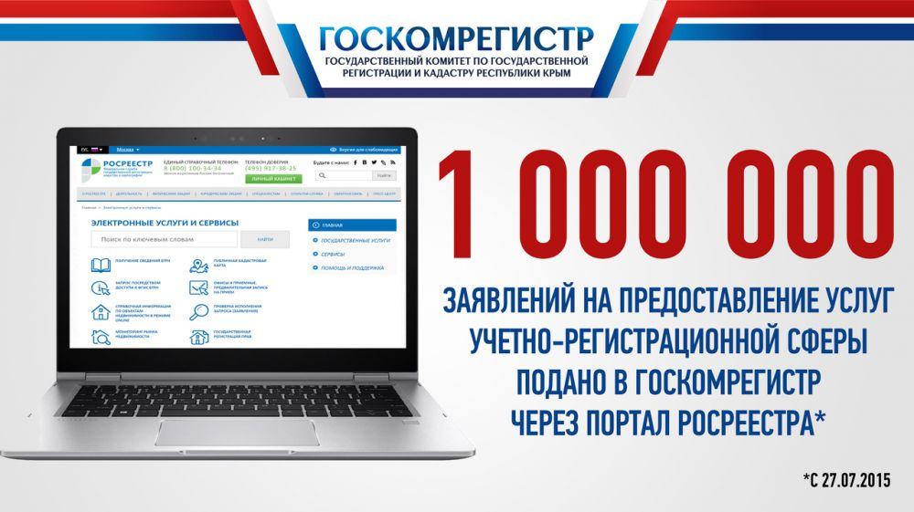 Госкомрегистр принял в электронном виде свыше одного миллиона заявлений на предоставление государственных услуг