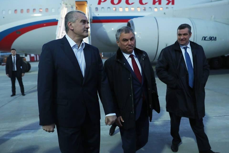Делегация Госдумы во главе Вячеславом Володиным прибыла в Крым