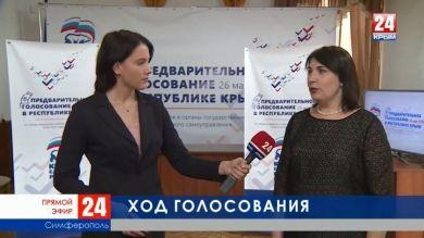 Промежуточные итоги голосования «Единой России»: прямое включение корреспондента телеканала «Крым 24» Елены Носковой