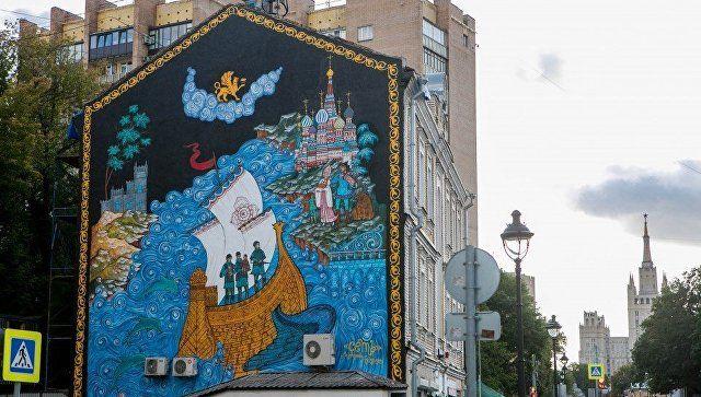 Фотофакт: стена в Москве будет напоминать о возвращении Крыма в Россию
