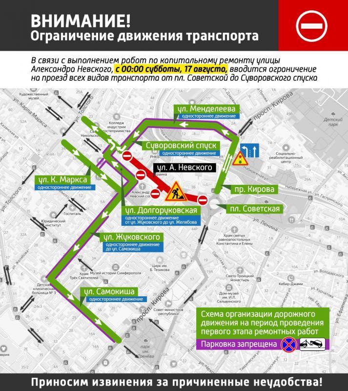 Автомобилистам показали, как объезжать ремонтируемый участок дороги в центре Симферополя