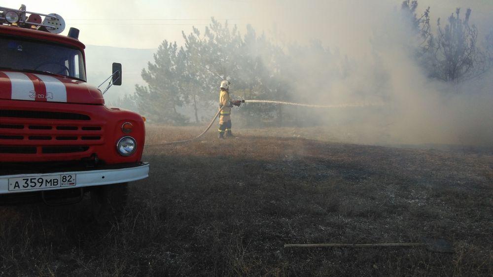Специалисты ГКУ РК «Пожарная охрана Республики Крым» ведут ежедневную борьбу с возгораниями сухой растительности