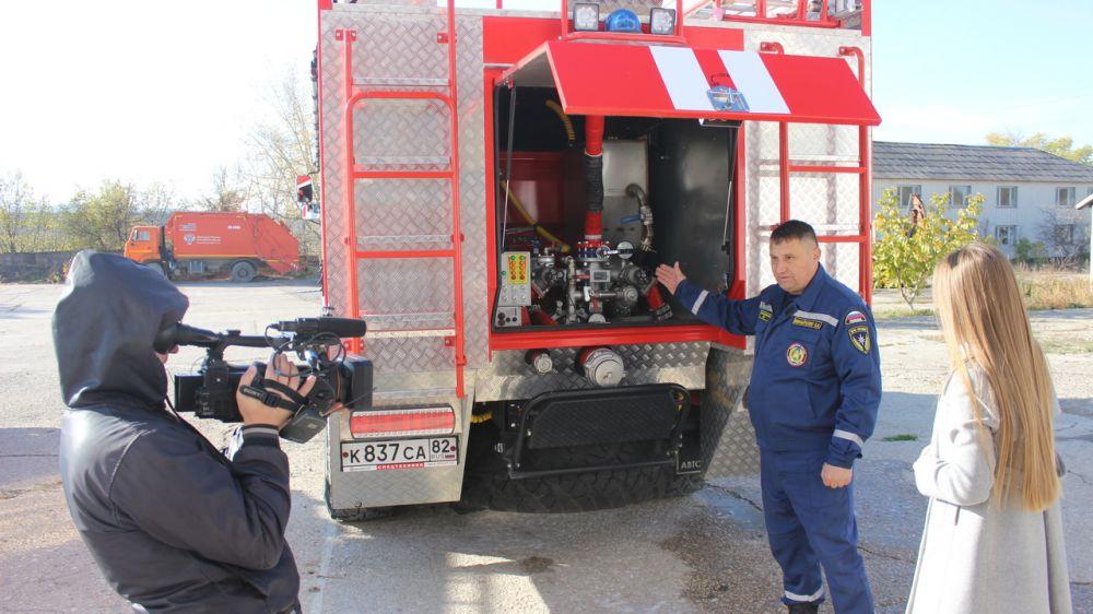 Съемочная группа программы «Утро нового дня» телеканала «Крым 24» посетила пожарную часть ГКУ РК «Пожарная охрана Республики Крым»