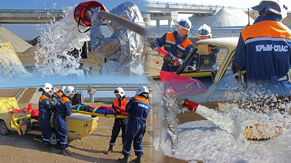 Сотрудники «КРЫМ-СПАС» и ГКУ РК «Пожарная охрана Республики Крым» провели совместную тренировку по ликвидации последствий условного ДТП на трассе «Таврида»