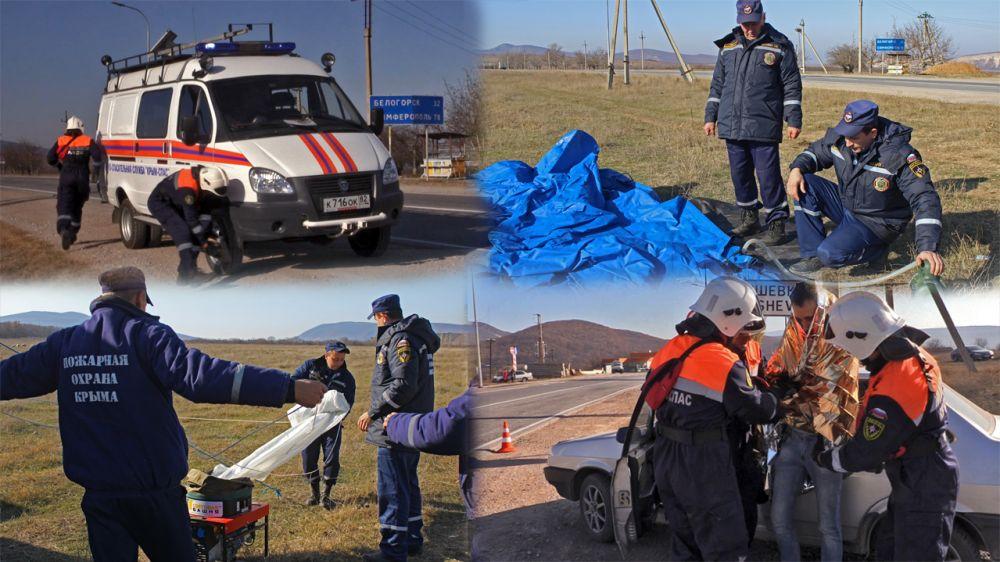 В рамках подготовки к зимнему периоду «КРЫМ-СПАС» и ГКУ РК «Пожарная охрана Республики Крым» провели тренировочное занятие по ликвидации последствий непогоды