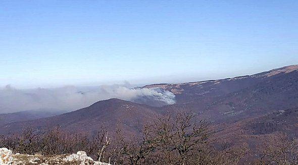 Дополнительные силы стягивают для тушения лесного пожара недалеко от Симферополя