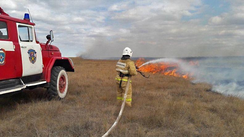 Огнеборцы ГКУ РК «Пожарная охрана Республики Крым» ликвидировали возгорание сухой травы в Бахчисарайском районе