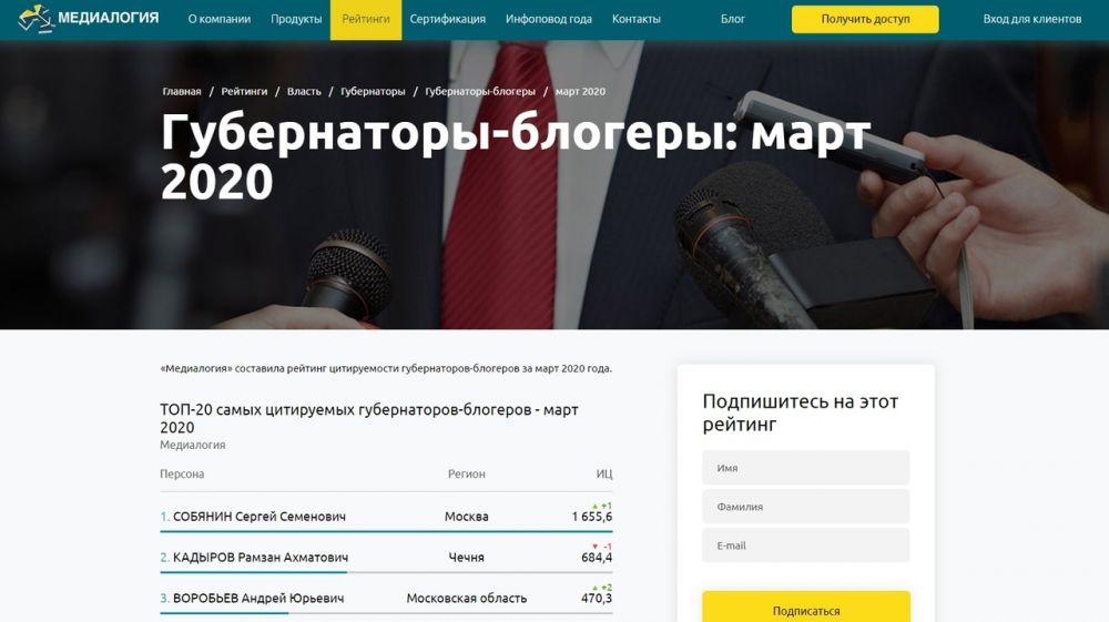 Сергей Аксёнов вошел в десятку самых цитируемых губернаторов-блогеров за март