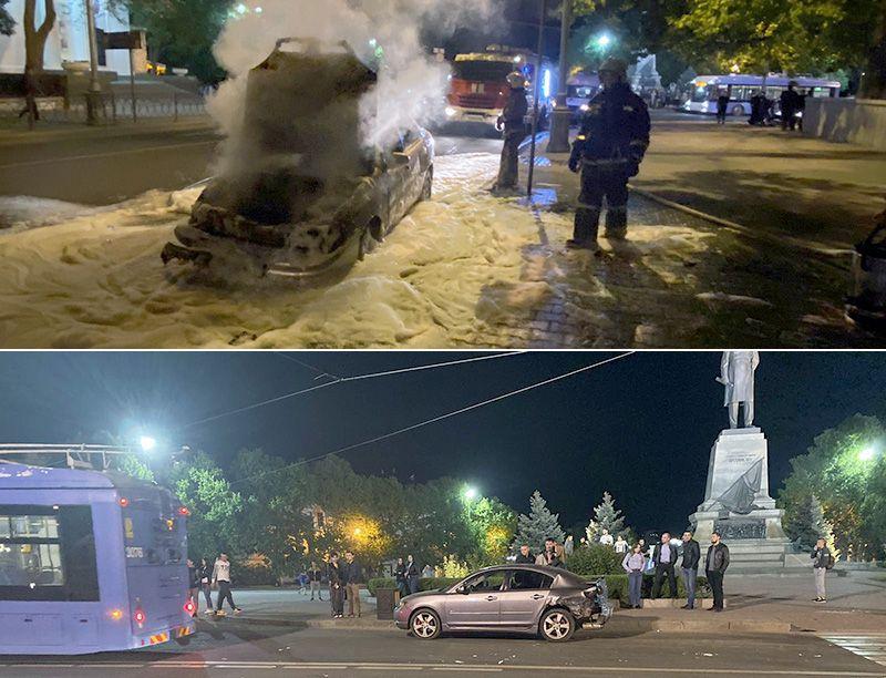 ДТП на площади Нахимова завершилось возгоранием авто и избиением водителя