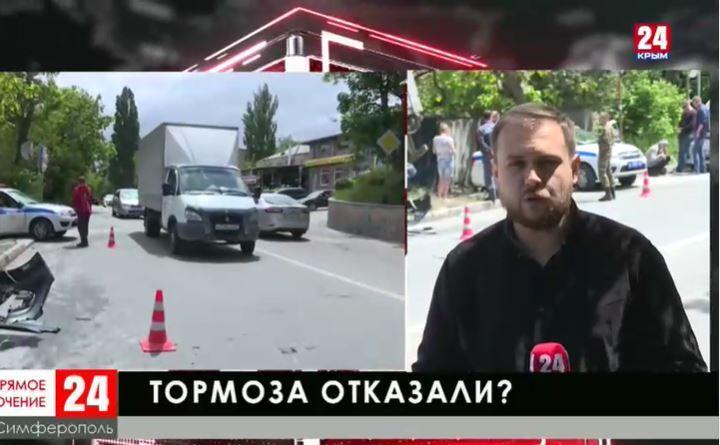 Многотонная фура врезалась в жилой дом в Симферополе