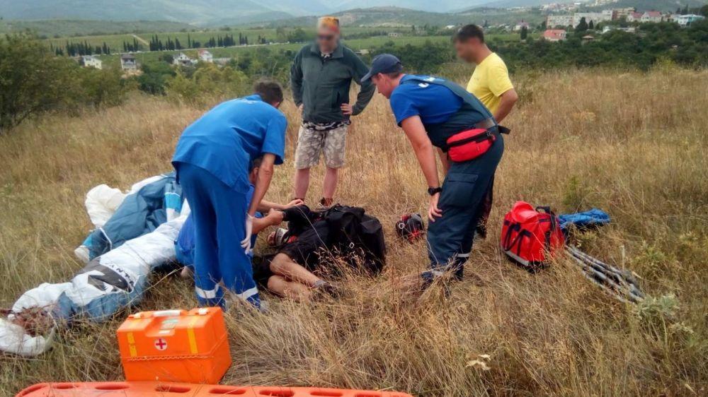 Упавшему парапланеристу оказана помощь сотрудниками Алуштинского АСО «КРЫМ-СПАС»