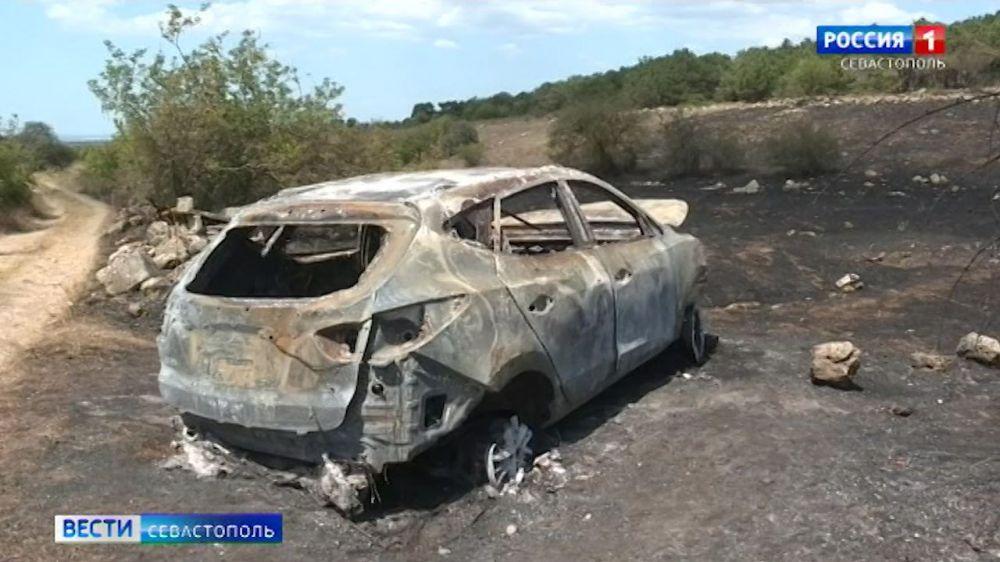 Причиной пожара в балке Бермана стал загоревшийся автомобиль
