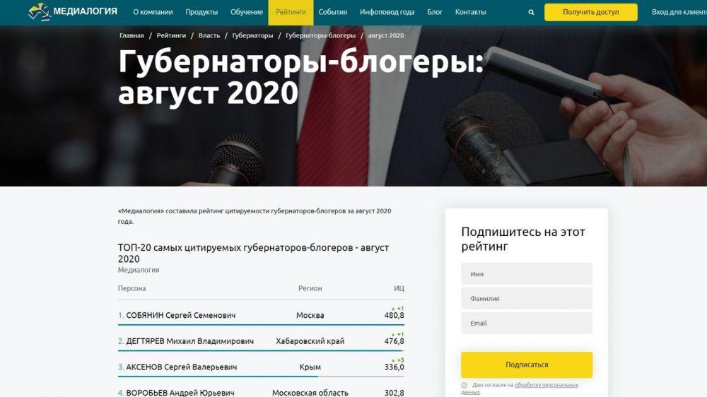 Сергей Аксёнов вошел в тройку самых цитируемых губернаторов-блогеров за август