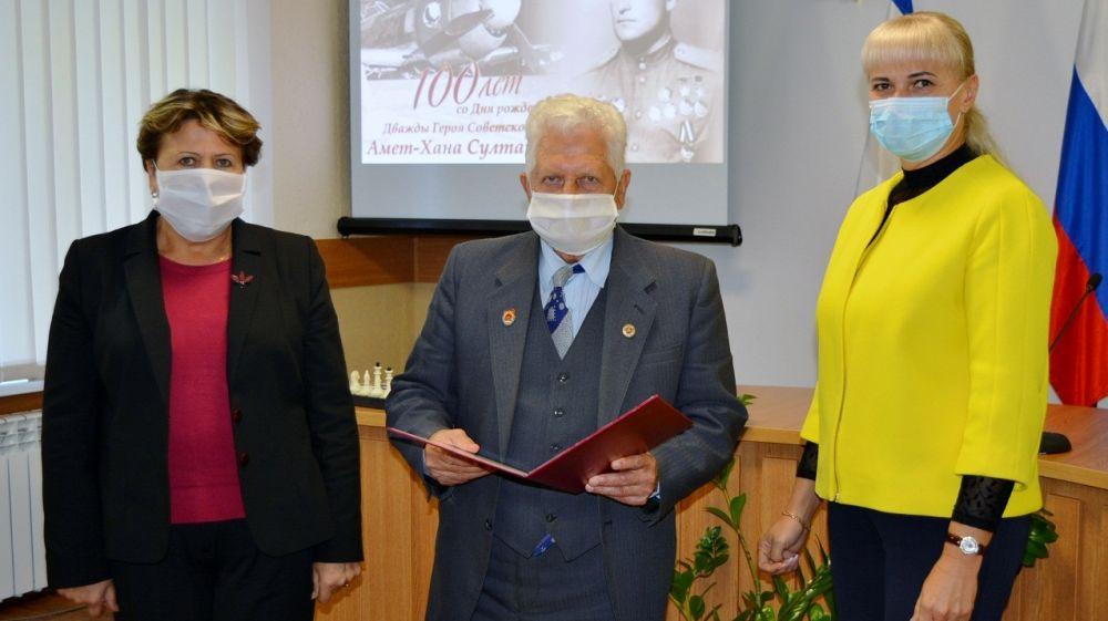 В Первомайском районе проведен шахматный турнир, посвященный 100-летию дважды Героя Советского Союза Амет-Хана Султана