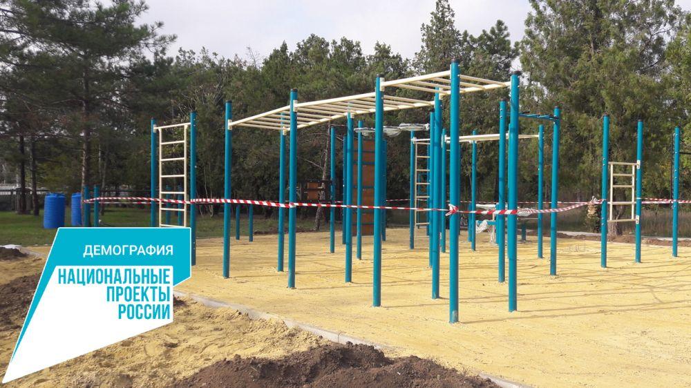 В Красноперекопском районе продолжается работа по созданию спортплощадок