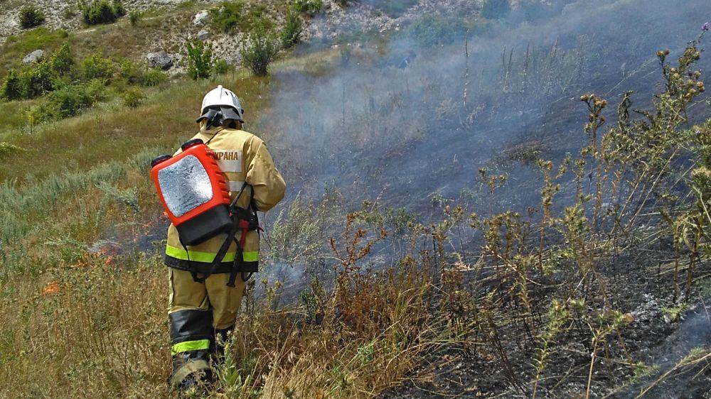 В Кировском районе сотрудники ГКУ РК «Пожарная охрана Республики Крым» ликвидировали возгорание сухой растительности