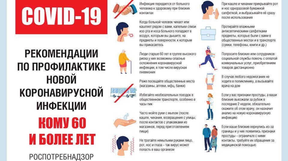 О рекомендациях по профилактике коронавирусной инфекции для тех, кому 60 и более лет
