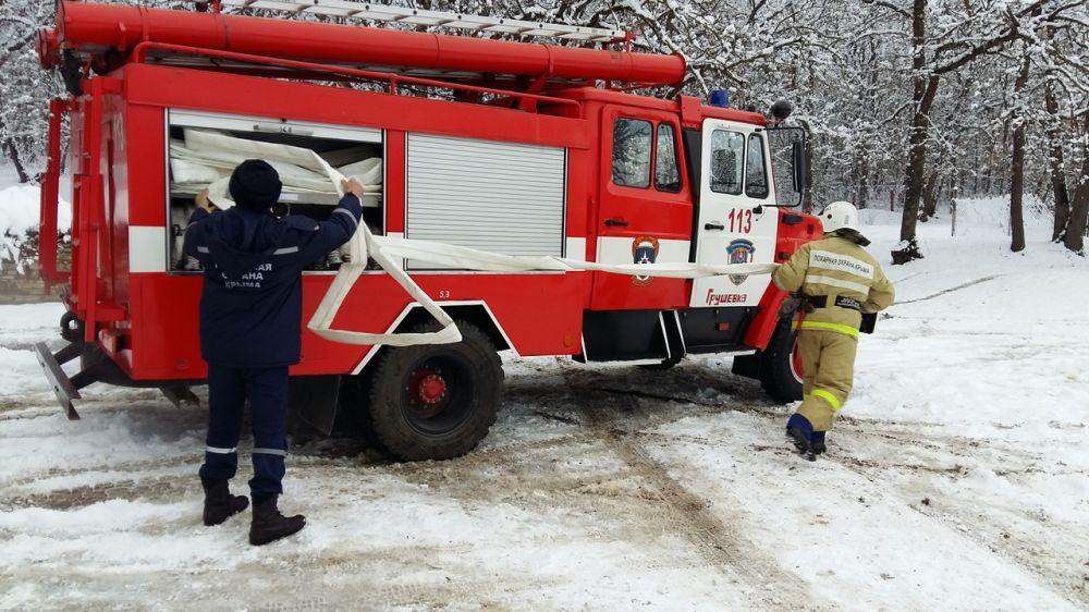 Специалисты подразделений ГКУ РК «Пожарная охрана Республики Крым» проводят занятия по пожарно-строевой подготовке