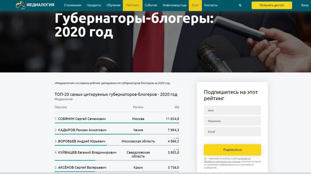 Сергей Аксёнов вошел в пятерку самых цитируемых в 2020 году губернаторов-блогеров