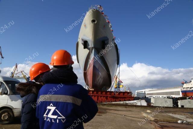 Новый патрульный корабль крымского производства торжественно спустили на воду в Керчи