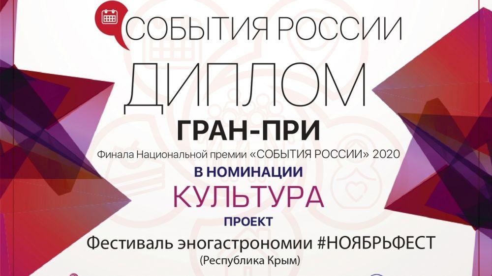 Минтуризма РК: Крымский фестиваль #Ноябрьфест получил Гран-при национальной премии «События России – 2020»