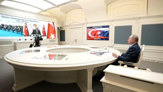 """Путин и Эрдоган открыли строительство третьего энергоблока АЭС """"Аккую"""""""