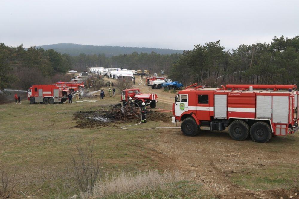 В Симферопольском районе прошли учения по ликвидации лесного пожара