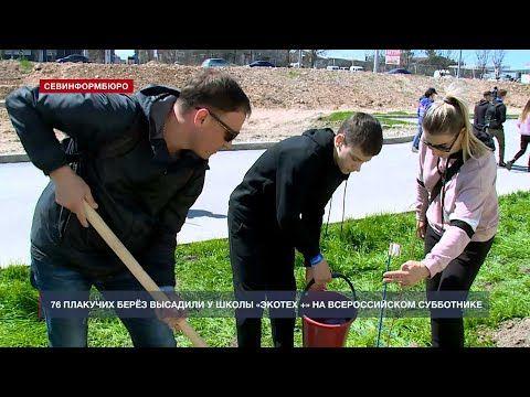 76 плакучих берёз высадили у школы «Экотех +» на Всероссийском субботнике