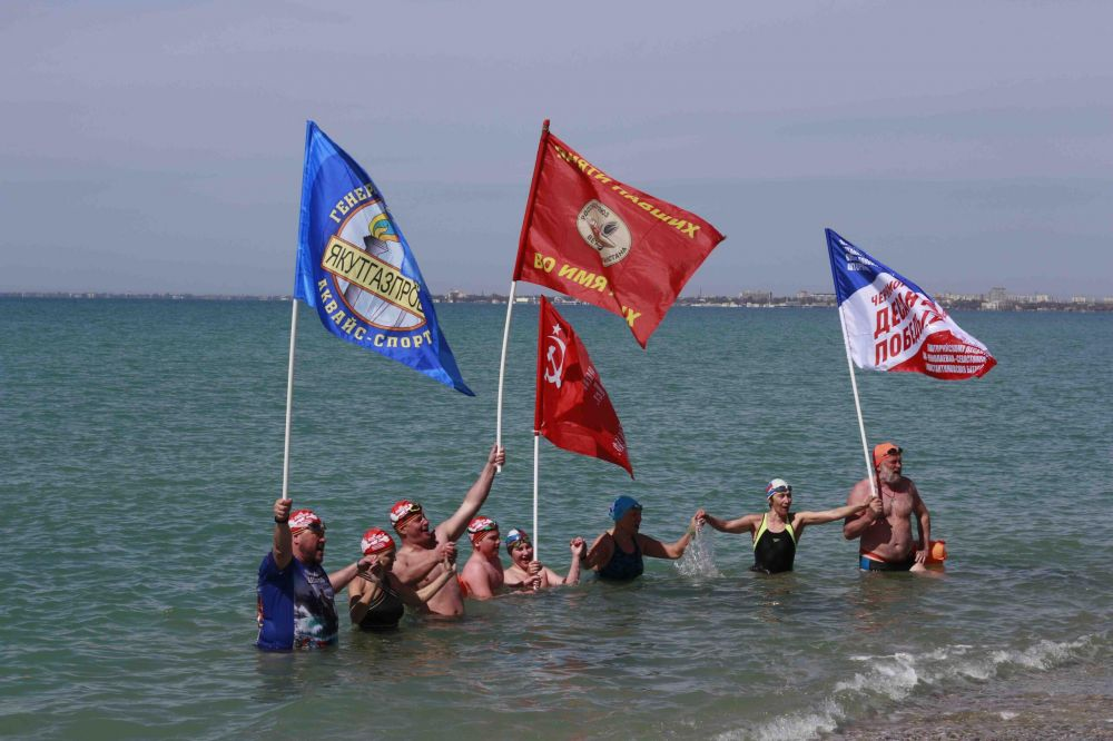 В Евпатории встретили участников народно-патриотической акции «Доплыть до Победы»