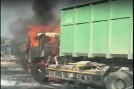 На одной из улиц Симферополя загорелся КАМАЗ