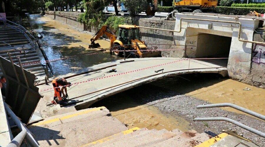 Затопленный во время наводнения в Ялте пешеходный переход снова функционирует