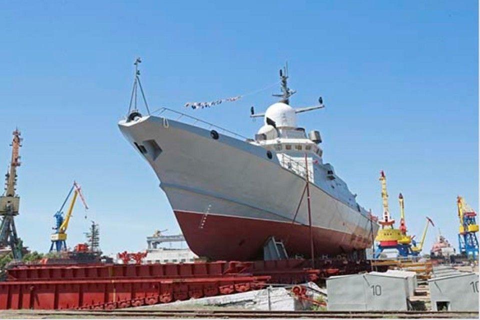 На заводе «Залив» в Керчи спустили на воду малый ракетный корабль «Аскольд»