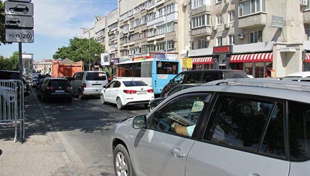 Пробка в центре Симферополя из-за отключения электроэнергии. 13 июня 2018